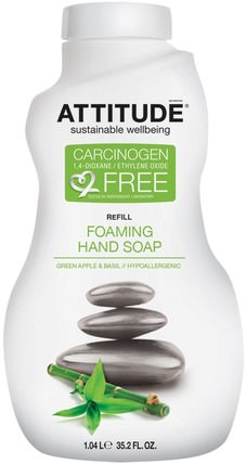 Foaming Hand Soap, Refill, Green Apple & Basil, 35.2 fl oz (1.04 l) by ATTITUDE, 洗澡,美容,身體護理,肥皂,筆芯 HK 香港