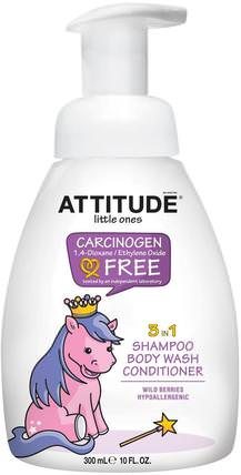 Little Ones, 3 in 1 Shampoo, Body Wash, Conditioner, Wild Berries, 10 fl oz (300 ml) by ATTITUDE, 洗澡,美容,洗髮水,兒童洗髮水,護髮素,兒童護髮素 HK 香港