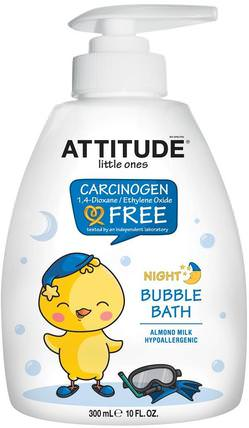 Little Ones, Night Bubble Bath, Almond Milk, 10 fl oz (300 ml) by ATTITUDE, 洗澡,美容,泡泡浴,孩子泡泡浴 HK 香港