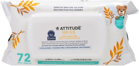 Sensitive Skin Care, Baby, Natural Baby Wipes, Fragrance Free, 72 Wipes by ATTITUDE, 兒童健康,尿布,嬰兒濕巾 HK 香港