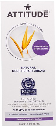 Sensitive Skin Care, Natural Deep Repair Cream, Fragrance Free, 2.5 fl oz (75 ml) by ATTITUDE, 健康,皮膚,態度敏感的皮膚護理 HK 香港