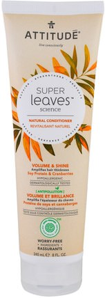 Super Leaves Science, Natural Conditioner, Volume & Shine, Soy Protein & Cranberries, 8 oz (240 ml) by ATTITUDE, 洗澡,美容,頭髮,頭皮,洗髮水,護髮素 HK 香港
