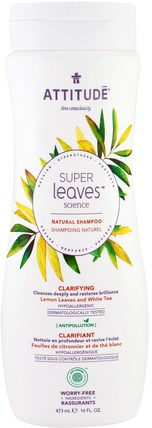 Super Leaves Science, Natural Shampoo, Clarifying, Lemon Leaves and White Tea, 16 oz (473 ml) by ATTITUDE, 洗澡,美容,頭髮,頭皮,洗髮水,護髮素 HK 香港