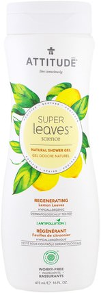 Super Leaves Science, Natural Shower Gel, Regenerating, Lemon Leaves, 16 oz (473 ml) by ATTITUDE, 洗澡,美容,沐浴露 HK 香港