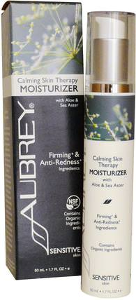 Calming Skin Therapy, Moisturizer, Sensitive Skin, 1.7 fl oz (50 ml) by Aubrey Organics, 美容,面部護理,面霜,乳液,健康,皮膚 HK 香港