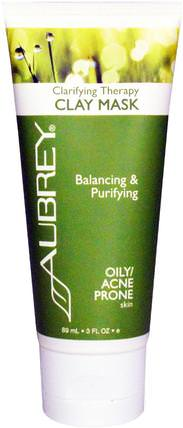 Clarifying Therapy Clay Mask, Oily / Acne Prone Skin, 3 fl oz (89 ml) by Aubrey Organics, 健康,皮膚,痤瘡,皮膚類型的痤瘡皮膚 HK 香港