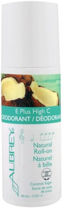 E Plus High C, Natural Roll-On Deodorant, Coconut Sugar, 3 fl oz (89 ml) by Aubrey Organics, 沐浴,美容,除臭劑,滾裝除臭劑 HK 香港