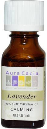 100% Pure Essential Oil, Lavender.5 fl oz (15 ml) by Aura Cacia, 沐浴,美容,香薰精油,薰衣草精油 HK 香港