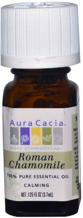 100% Pure Essential Oil, Roman Chamomile, 0.125 fl oz (3.7 ml) by Aura Cacia, 沐浴,美容,香薰精油,洋甘菊油 HK 香港