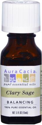 100% Pure Essential Oils, Clary Sage, Balancing.5 fl oz (15 ml) by Aura Cacia, 沐浴,美容,香薰精油,鼠尾草精油 HK 香港