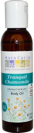 Aromatherapy Body Oil, Tranquil Chamomile, 4 fl oz (118 ml) by Aura Cacia, 健康,皮膚,按摩油 HK 香港