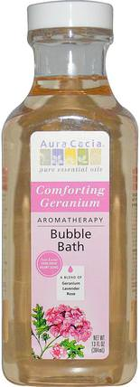 Aromatherapy Bubble Bath, Comforting Geranium, 13 fl oz (384 ml) by Aura Cacia, 洗澡,美容,泡泡浴 HK 香港