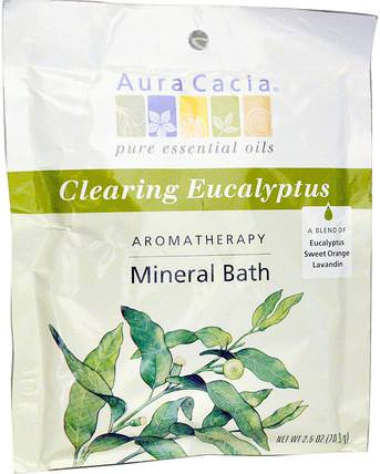 Aromatherapy Mineral Bath, Clearing Eucalyptus, 2.5 oz (70.9 g) by Aura Cacia, 洗澡,美容,浴鹽 HK 香港