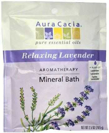 Aromatherapy Mineral Bath, Relaxing Lavender, 2.5 oz (70.9 g) by Aura Cacia, 洗澡,美容,浴鹽 HK 香港
