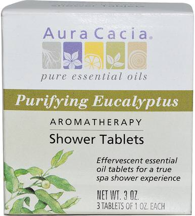 Aromatherapy Shower Tablets, Purifying Eucalyptus, 3 Tablets, 1 oz Each by Aura Cacia, 洗澡,美容,浴鹽 HK 香港