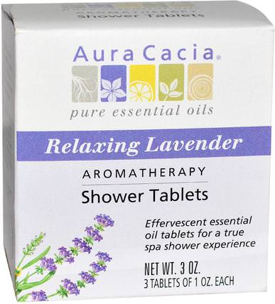 Aromatherapy Shower Tablets, Relaxing Lavender, 3 Tablets, 1 oz Each by Aura Cacia, 洗澡,美容,浴鹽 HK 香港