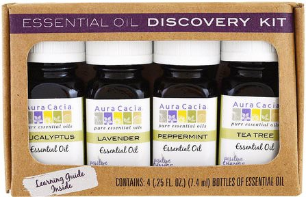 Essential Oil Discovery Kit, 4 Bottles.25 fl oz (7.4 ml) Each by Aura Cacia, 健康,皮膚,按摩油 HK 香港