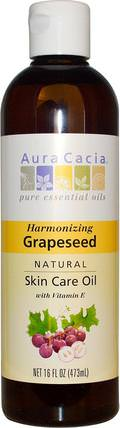 Natural Skin Care Oil, Harmonizing Grapeseed, 16 fl oz (473 ml) by Aura Cacia, 健康,皮膚,葡萄籽油,按摩油 HK 香港
