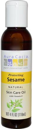 Natural Skin Care Oil, Protecting Sesame, 4 fl oz (118 ml) by Aura Cacia, 健康,皮膚,按摩油 HK 香港