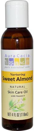 Natural Skin Care Oil, with Vitamin E, Nurturing Sweet Almond, 4 fl oz (118 ml) by Aura Cacia, 健康,皮膚,杏仁油外用,按摩油 HK 香港
