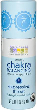 Organic Chakra Balancing Aromatherapy Roll-On, Expressive Throat, 0.31 fl oz (9.2 ml) by Aura Cacia, 洗澡,美容,香水噴霧 HK 香港