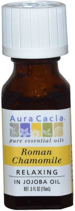 Roman Chamomile, Relaxing.5 fl oz (15 ml) by Aura Cacia, 沐浴,美容,香薰精油,洋甘菊油 HK 香港
