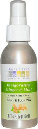Room & Body Mist, Invigorating Ginger & Mint, 4 fl oz (118 ml) by Aura Cacia, 家,空氣清新劑除臭劑,沐浴,身體護理 HK 香港