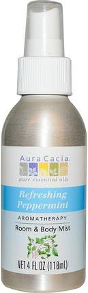 Room & Body Mist, Refreshing Peppermint, 4 fl oz (118 ml) by Aura Cacia, 家,空氣清新劑除臭劑,沐浴,身體護理 HK 香港