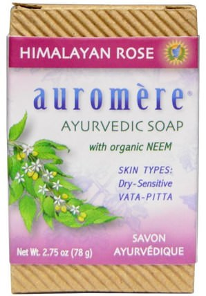 Ayurvedic Soap, With Organic Neem, Himalayan Rose, 2.75 oz (78 g) by Auromere, 洗澡,美容,肥皂 HK 香港