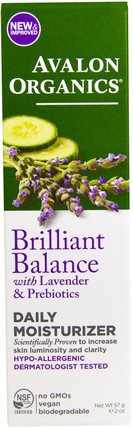 Brilliant Balance, With Lavender & Prebiotics, Daily Moisturizer, 2 oz (57 g) by Avalon Organics, 美容,面部護理,面霜乳液,精華素,透明質酸皮膚 HK 香港