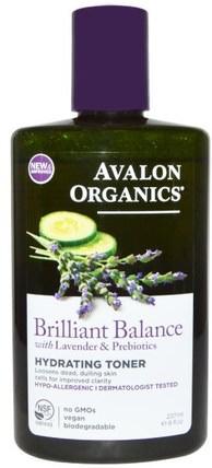 Avalon Organics, Brilliant Balance, With Lavender & Prebiotics, Hydrating Toner, 8 fl oz (237 ml) 美容,面部調色劑