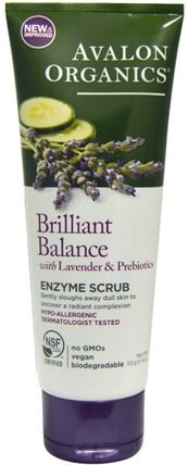Brilliant Balance, With Lavender & Prebiotics, Enzyme Scrub, 4 oz (113 g) by Avalon Organics, 美容,面部護理,面霜乳液,精華素,潔面乳 HK 香港