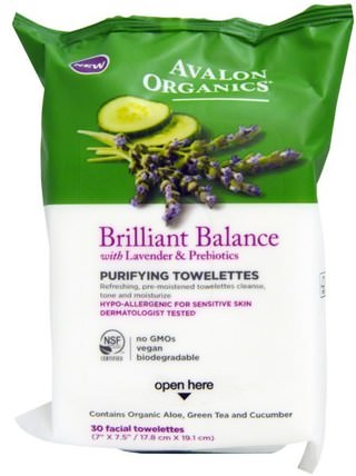 Brillilant Balance, With Lavender & Prebiotics, Purifying Towelettes, 30 Facial Towelettes by Avalon Organics, 美容,面部護理,面部濕巾 HK 香港