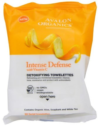 Intense Defense, With Vitamin C, Detoxifying Towelettes, 30 Facial Towelettes by Avalon Organics, 美容,面部護理,面部濕巾 HK 香港