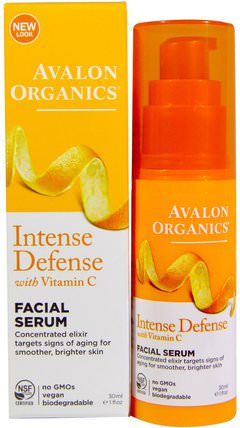 Intense Defense, With Vitamin C, Facial Serum, 1 fl oz (30 ml) by Avalon Organics, 美容,面部護理,面霜,乳液,健康,皮膚血清 HK 香港