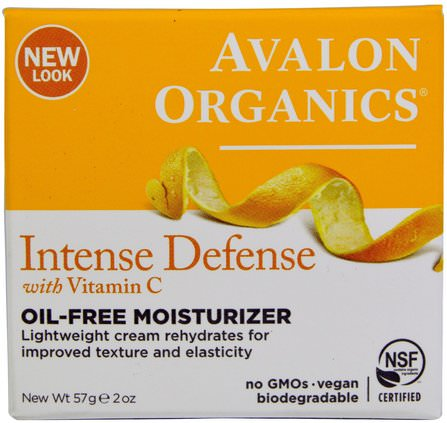 Intense Defense, With Vitamin C, Oil-Free Moisturizer, 2 oz (57 g) by Avalon Organics, 美容,面部護理,面霜,乳液 HK 香港