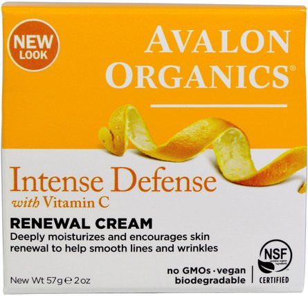 Intense Defense, With Vitamin C, Renewal Cream, 2 oz (57 g) by Avalon Organics, 美容,面部護理,面霜,乳液 HK 香港