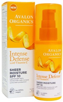 Intense Defense, With Vitamin C, Sheer Moisture, SPF 10, 1.7 oz (50 g) by Avalon Organics, 美容,面部護理,面霜乳液,血清,spf面部護理 HK 香港