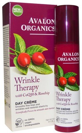 Wrinkle Therapy, With CoQ10 & Rosehip, Day Creme, 1.75 oz (50 g) by Avalon Organics, 美容,面部護理,面霜,乳液,coq10皮膚 HK 香港