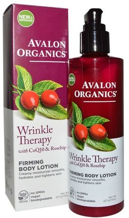 Wrinkle Therapy, With CoQ10 & Rosehip, Firming Body Lotion, 8 oz (227 g) by Avalon Organics, 美容,面部護理,面霜,乳液,coq10皮膚 HK 香港