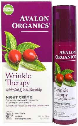 Wrinkle Therapy, With CoQ10 & Rosehip, Night Creme, 1.75 oz (50 g) by Avalon Organics, 美容,面部護理,面霜,乳液,coq10皮膚 HK 香港