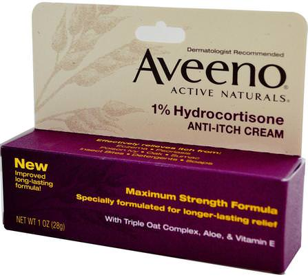 Active Naturals, 1% Hydrocortisone, Anti-Itch Cream, 1 oz (28 g) by Aveeno, 健康,皮炎,身體 HK 香港