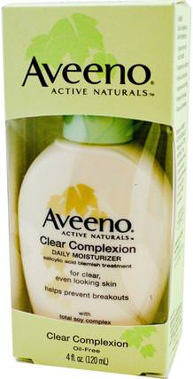 Active Naturals, Clear Complexion, Daily Moisturizer, 4 fl oz (120 ml) by Aveeno, 美容,水楊酸,面部護理 HK 香港