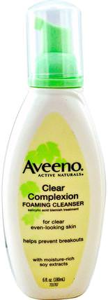 Active Naturals, Clear Complexion Foaming Cleanser, 6 fl oz (180 ml) by Aveeno, 美容,水楊酸,面部護理 HK 香港