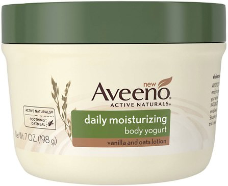 Active Naturals, Daily Moisturizing Body Yogurt, Vanilla and Oats Lotion, 7 oz (198 g) by Aveeno, 健康,皮膚,身體黃油 HK 香港