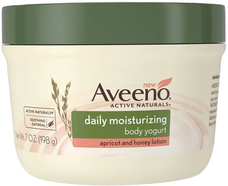 Active Naturals, Daily Moisturizing Body Yogurt, Apricot and Honey Lotion, 7 oz (198 g) by Aveeno, 健康,皮膚,身體黃油 HK 香港