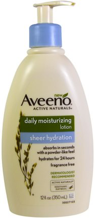Active Naturals, Daily Moisturizing Lotion, Sheer Hydration, Fragrance Free, 12 fl oz (350 ml) by Aveeno, 每日保濕,沐浴,美容,潤膚露 HK 香港