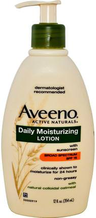 Active Naturals, Daily Moisturizing Lotion with Sunscreen, SPF 15, 12 fl oz (354 ml) by Aveeno, 洗澡,美容,防曬霜,spf 05-25,身體 HK 香港