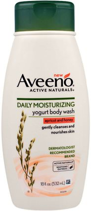 Active Naturals, Daily Moisturizing Yogurt Body Wash, Apricot and Honey, 18 fl oz (532 ml) by Aveeno, 洗澡,美容,沐浴露 HK 香港