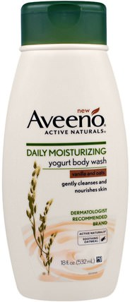 Active Naturals, Daily Moisturizing Yogurt Body Wash, Vanilla and Oats, 18 fl oz (532 ml) by Aveeno, 洗澡,美容,沐浴露 HK 香港